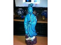 ANTIQUE CHINESE TURQUOISE GLAZE GUANYIN FIGURE WITH CHILD