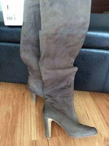 aldo over the knee herveline brown heeled boots - size 8.5