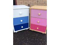2 bedside 3 drawer cabinets pink and blue boy girl kids.