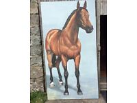 Life size racehorse oil painting