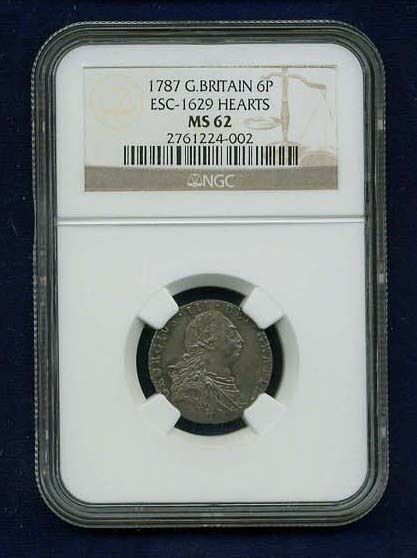 GREAT BRITAIN ENGLAND GEORGE III  1787 SIXPENCE  SILVER COIN, CERTIFIED NGC MS62