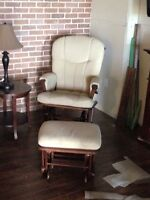 Cream rocking chair & stool