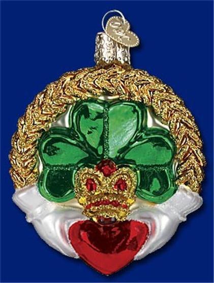 CLADDAGH OLD WORLD CHRISTMAS IRISH SAINT PADDY HEART GLASS ORNAMENT NWT 36081