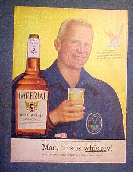 1955 Bruce Parker Water Skiing~Skier Hiram Walker Whiskey Vintage Sports Art AD