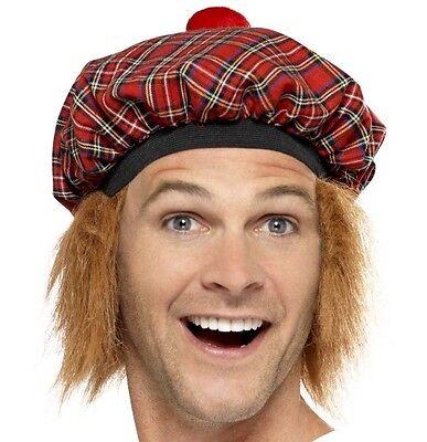 Herren Tam O Shanter Hut mit Pelz Haare Schottisch Schottlands Kostüm Mütze - Tam O Shanter Hut Kostüm