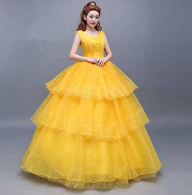 Beauty and the Beast Belle Disney Cosplay Kostüm Abend-kleid lang long Ball Gold