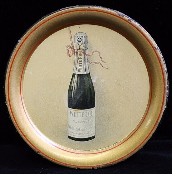 Ca. 1910 White Top Champagne Advertising Tip Tray from Hammondsport, NY