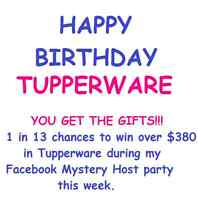 Tupperware Mystery Host online party... $380 value to be won!