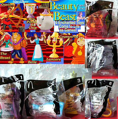 McDonald's Beauty and the Beast 2002 - 6 Toy Set new Sealed  Cake Decoration