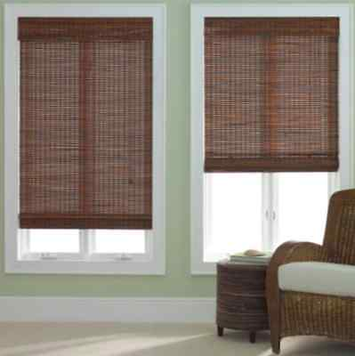 Bamboo Woven Wood Roman Shade Blind Window Treatment JCP Home NEW