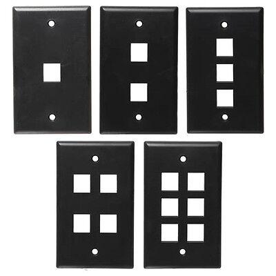 One BLACK Keystone Wall Plate CHOOSE 1,2,3,4, or 6 port (Cat5 Cat6 Audio/Video) 1 Port Wall Plate