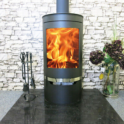 Suerte Ex Demo Wood Burning Stove 3 Sided Contemporary Curved Multi -Fuel Stove