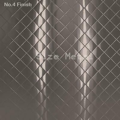 8 Pack - 430 Brushed Quilted Pattern Stainless Steel Sheets 24ga 4 X 10