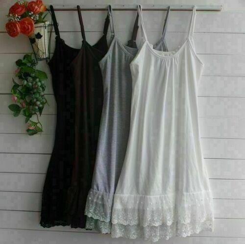 Frauen Spitze Unterkleid Unterhemd Spaghetti Hosenträger Unterrock Petticoat DE