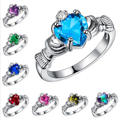 8 Style Women Jewelry 925 Silver Sapphire Crown Wedding Engagement Claddagh Ring Crown Style 925 Silver Ring