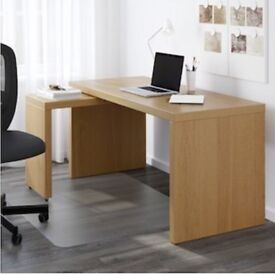 Desk with pull out panel - Ikea Malm - Oak