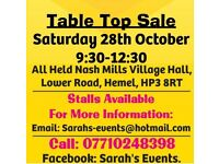 1) Indoor Table Top Sale Sat 28 October 930-1230 - Other Events Being Held Please See Photos.