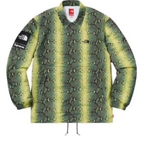 Supreme x The North Face Snakeskin Coaches Jacket Size L Green
