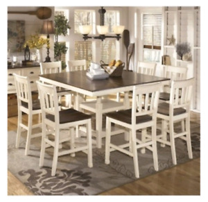 9 Piece Counter Height Dining Set in Brown and White