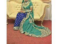 Bridal dress wedding lengha with trail asian wedding dress