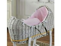 Kinder valley white pod wicker moses basket & pink Dimple bedding & FREE ROCKING stand. Brand new.