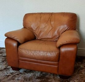 Leather Sofa chair, tan, from DFS