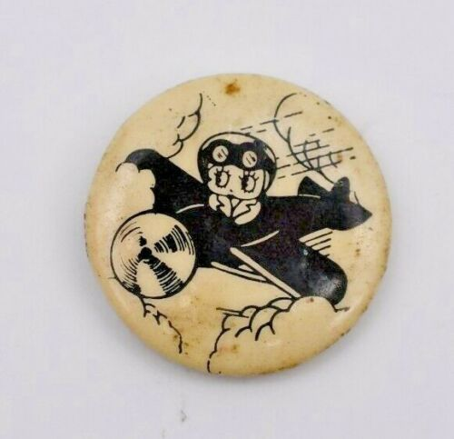 Vintage 1980 BETTY BOOP Flying Plane Pin Pinback Button, King Features Syndicate
