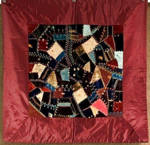 Antique PA c 1890-1900 Crazy CRIB   Quilt Velvets Silks