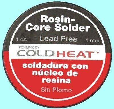 1x Coldheat Rosin Core Solder Lead Free 1mm 1 Oz