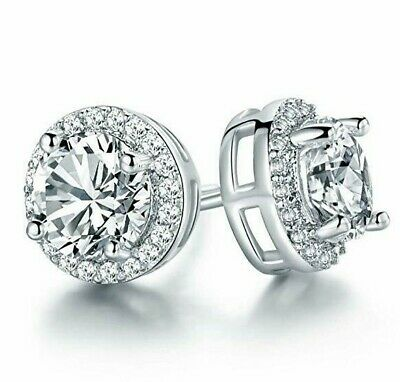 Round Halo Stud Earrings with Swarovski Crystals in 18K White Gold with Gift Box