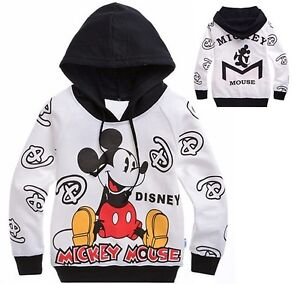 NWT-Kids-Boys-Girls-Mickey-Mouse-Long-Sleeve-Hoodies-Tops-Size-140-7-8-Years