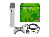 XBOX 360 (white arcade)with 1 Wired Controller/1 scart lead Lead/ 1 power supply/1 arcade game inc