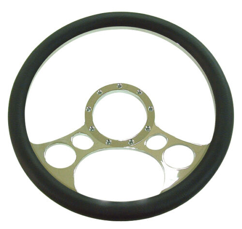 Chrome-Aluminum-Steering-Wheel-14-circles-flaming-ididit-billet-grant-specialty