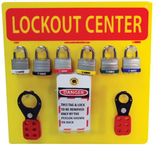 Lockout Center With Yellow Backboard Lock Out/Tag Out