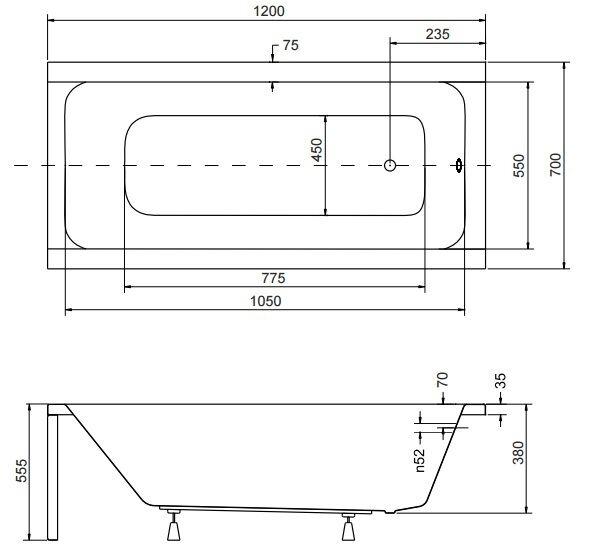 Badewanne Rechteck Acryl 120,130,140,150,160,170x70 Ablauf VIEGA Füße MODERN F 120x70