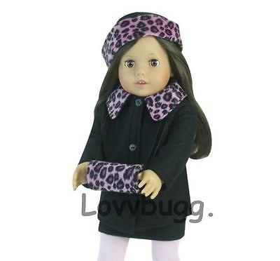 """Lovvbugg Pink n Black Leopard Jacket Set for 18"""" American Girl Doll Clothes"""