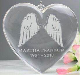 Personalised angel wings acrylic heart decoration