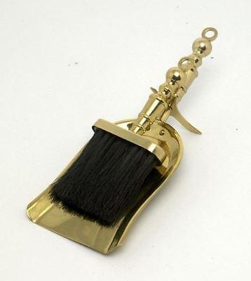 Polished Brass Fireplace Pan and Brush Set