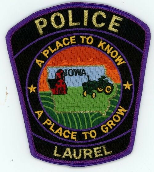 LAUREL IOWA IA POLICE PATCH SHERIFF TRACTOR BARN