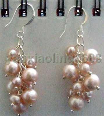 pink Akoya Cultured Pearl Grape Dangle Earring 925 Silver Hook