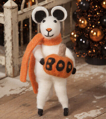 Bethany Lowe Halloween Boo the Mouse W/JOL— Felted Mouse—retired