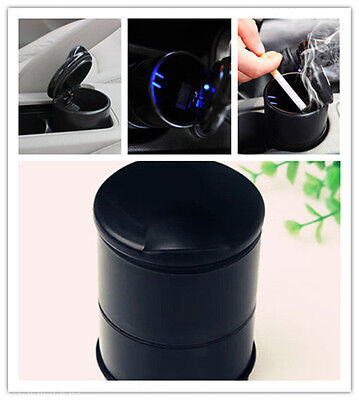 Black Auto Accessories illuminated Car Ashtray With Led Light Easy Cleaning