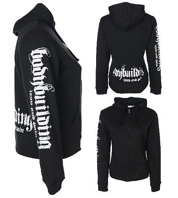 Ladies/womens Bodybuilding Clothing Hoodie Workout Top Black E-37