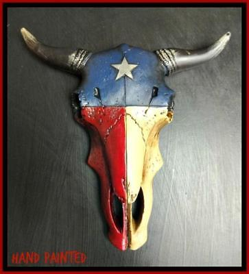 Western Decore (Western Texas Flag Cow Bull Longhorn Skull Rustic Hanging Wall Sculpture)