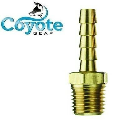 18 Npt Male Threads X 14 Hose Barb Brass Straight Fitting Coyote Gear