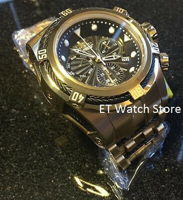 @New Invicta 52mm Bolt Zeus Quartz Chronograph Gold Tone Bracelet Watch 23912