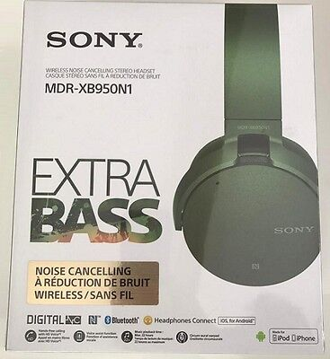 NEW Sony MDR-XB950N1 EXTRA BASS Noise-Canceling Bluetooth Headphones GREEN