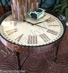Retro INDUSTRIAL Metal CLOCK TABLE Iron Antique Aluminum Silver Round Coffee