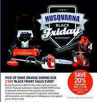20% OFF ALL HUSQVARNA* $1000 or less msrp