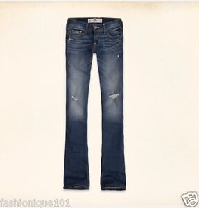 NWT HOLLISTER WOMENS MEDIUM WASH DESTROYED BOOT CUT JEANS SIZE 9R